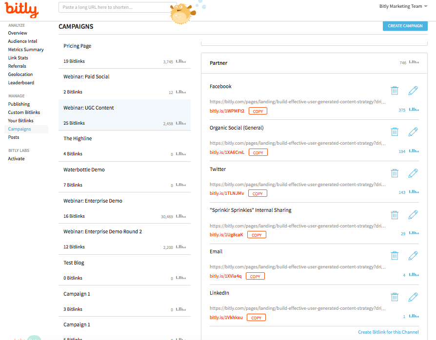 Tracking multiple influencer channels with Bitly