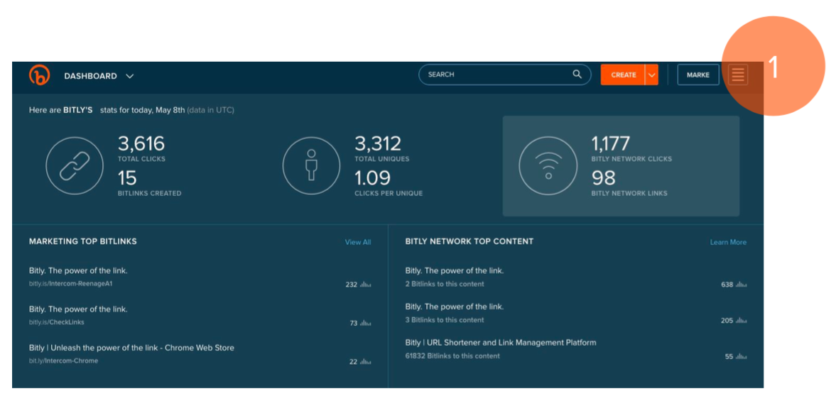 A screenshot of how to set up your branded domain using Bitly. Step 1.