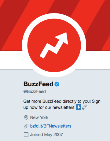 A BuzzFeed social media post showing their use of their vanity URL, bzfd.it.