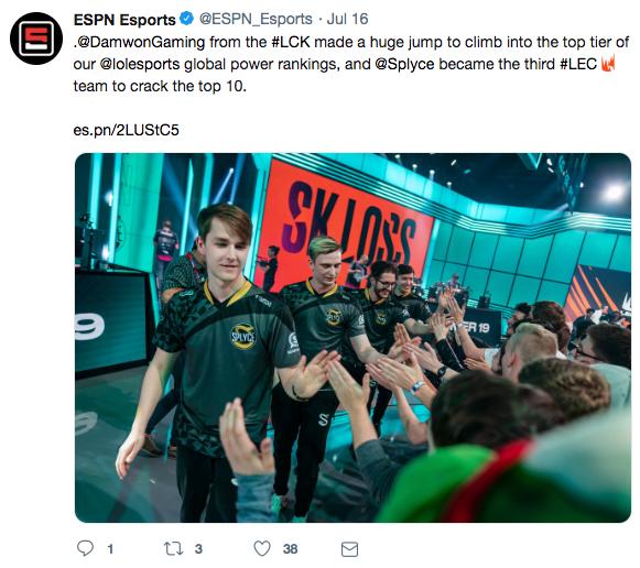 A ESPN social media post showing their use of their vanity URL, es.pn.
