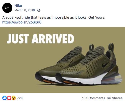 A Nike social media post showing their use of their vanity URL, swoo.sh.