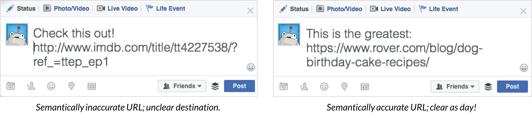 An image from Moz showing a side by side of two tweets: one using a vanity URL and the other that's not.