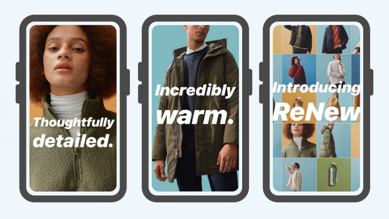 Three cell phones showing three different images of people wearing clothes from the brand Everlane.
