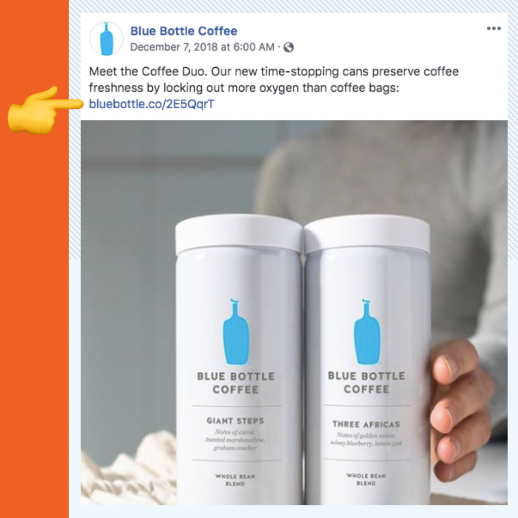 A screenshot of a Blue Bottle Facebook post showing two whole bean blends