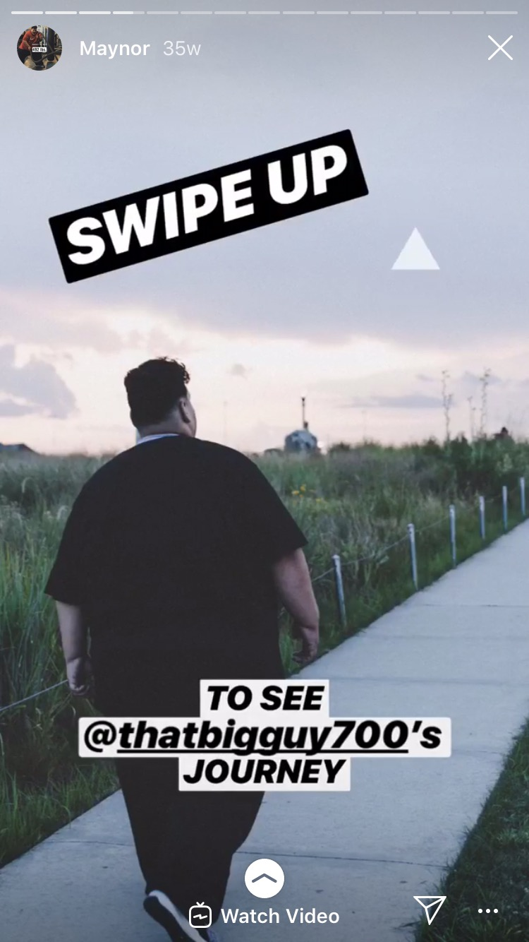 Nike's Instagram Story: Example of a Story with a swipe up link