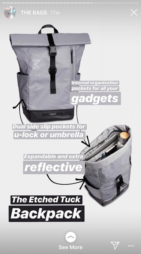 Timbuk2: Example of adding a link in an Instagram Story.