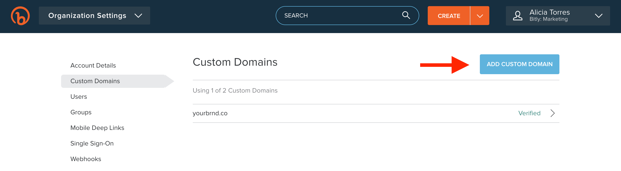 How to Add a Custom Domain in Bitly to create branded short links for SMS: Step 4